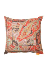 Etro Faroles Jacquard Cashmere Blend Pillow Multicolor