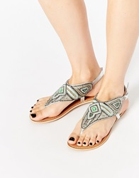 New Look Flat Beaded Sandals Silver