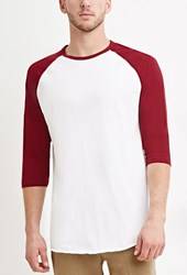 Forever 21 Cotton Baseball Tee White Burgundy