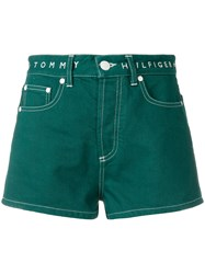Tommy Hilfiger High Waisted Denim Shorts Green