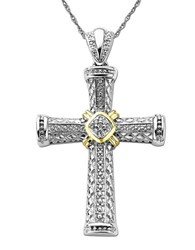 Lord And Taylor Diamond Accented Cross In Sterling Silver With 14K Yellow Gold .06 Tcw White Gold