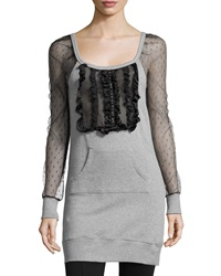 Red Valentino Contrast Sleeve Ruffle Front Tunic Gray
