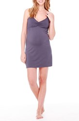 Women's Ingrid And Isabel Jersey Maternity Nursing Chemise Metal