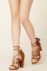 Forever 21 Faux Suede Fringed Heels