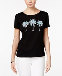Karen Scott Petite Cotton Palm Tree Graphic T Shirt Only At Macy's Deep Black