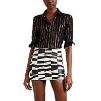Saint Laurent Striped Metallic Blouse Black
