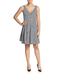 Betsey Johnson Gingham Check Fit And Flare Dress Black Ivory