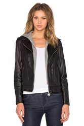 Doma Hooded Leather Jacket Black