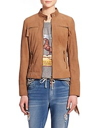 Pam And Gela Fringe Suede Jacket Tan