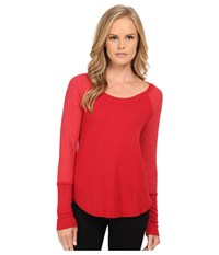 Splendid Thermal Baseball Tee Currant Women's T Shirt Red