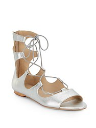 Loeffler Randall Dani Metallic Leather Lace Up Gladiator Sandals Silver