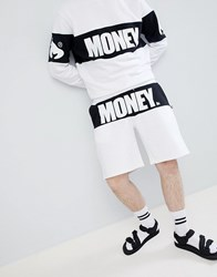 Money Block Shorts In White With Panel