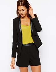 Michelle Keegan Loves Lipsy Tailored Jacket With Pu Lapel Black