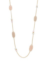 Gemma Simone Mixed Bead Long Chain Necklace Goldtone Gold Pink