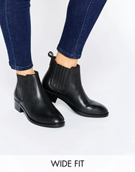 Asos About Time Wide Fit Leather Chelsea Boots Black