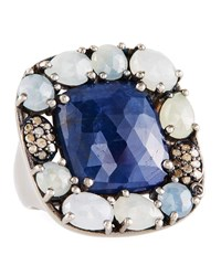 Bavna Blue And Multihued Sapphire Ring Size 7
