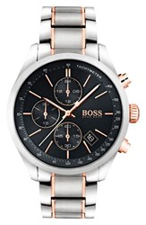 Boss Grand Prix Chronograph Bracelet Watch 44Mm Black Silver