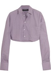 Y Project Cropped Checked Cotton Poplin Shirt Blue