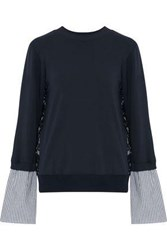 Clu Paneled Corded Lace Striped Poplin And Jersey Sweatshirt Navy