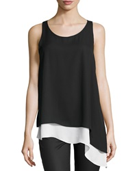 Max Studio Asymmetric Hem Colorblock Tank Black Ivory