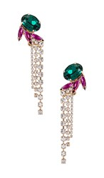 Anton Heunis Crystal Wings Tassel Earring In Metallic Gold. Green Fuchsia And Gold