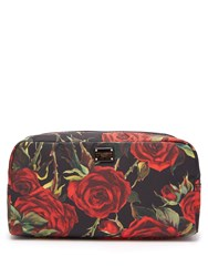Dolce And Gabbana Rose Print Make Up Bag Black Red