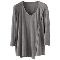 Poetry Cross Over Front Jersey Top Grey Brown