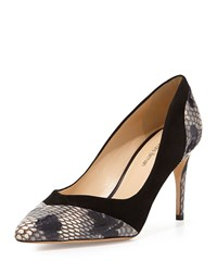 Alexandre Birman Suede And Python Pointy Pump Black Anthracite