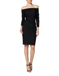 Kay Unger Off The Shoulder Cocktail Dress Black