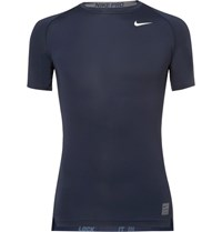 Nike Training Pro Mesh Panelled Dri Fit T Shirt Navy