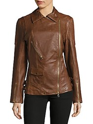 Karen Millen Longer Leather Jacket Tan