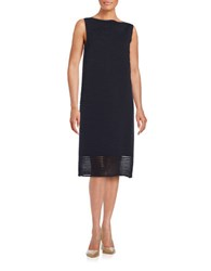Lafayette 148 New York Plated Sheer Stripe Dress Ink