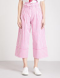 Moandco. Striped Paper Bag Waist Wide Leg Cotton Trousers Red And White S