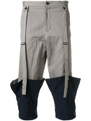 Chalayan Turned Up Hem Cropped Trousers Grey