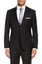 Strong Suit Men's Trim Fit Stretch Solid Wool Blazer Black