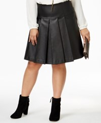 Michael Kors Plus Size Pleated Faux Leather Skirt Black