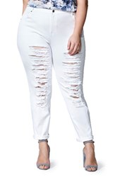 Mblm By Tess Holliday Plus Size Women's Ripped Boyfriend Jeans