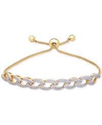 Wrapped In Love Diamond Link Slider Bracelet 1 Ct. T.W. 14K Gold Plated Silver Created For Macy's Gold Silver