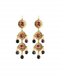 Jose And Maria Barrera Linear Triple Drop Earrings Purple