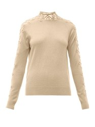 Fendi Embroidered Mesh Panels Cashmere Blend Sweater Beige