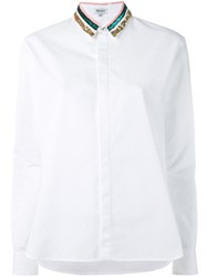 Kenzo Sequin Collar Shirt Women Cotton 36 White