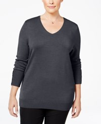 Jm Collection Plus Size V Neck Button Sleeve Sweater Only At Macy's Charcoal Heather
