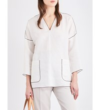 Max Mara Piped V Neck Pure Linen Tunic Ivory