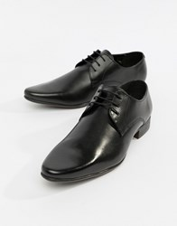 Asos Derby Shoes In Leather Black Leather