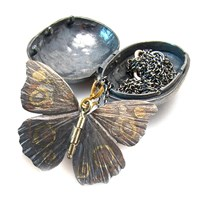 James Banks Butterfly And Chrysalis Pendant Silver