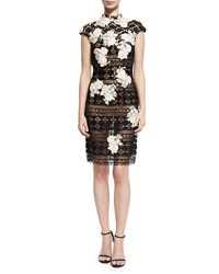 Jovani Cap Sleeve Lace Floral Embroidered Cocktail Dress Multi