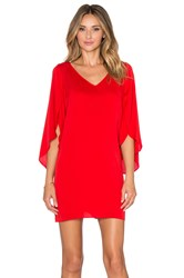Milly V Neck Butterfly Sleeve Dress Red