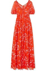 Nicholas Ruffled Floral Print Silk Chiffon Maxi Dress Orange