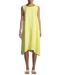 Eskandar Pleated Sleeveless Linen Dress Yellow