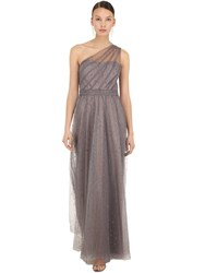 Marchesa Long One Shoulder Glittered Tulle Dress Gunmetal